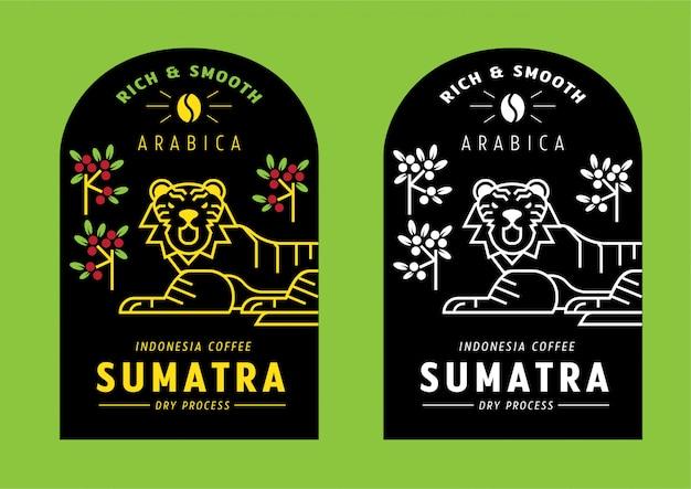 Disegno dell'etichetta del chicco di caffè di sumatra arabica con la tigre