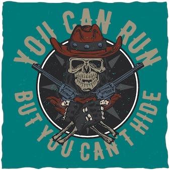Disegno dell'etichetta della maglietta da cowboy con illustrazione del teschio sul cappello con due pistole nelle mani.