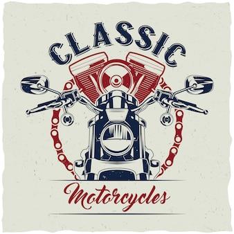 Disegno dell'etichetta della maglietta del motociclo con l'illustrazione della motocicletta classica.