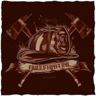 Disegno dell'etichetta della maglietta del pompiere con l'illustrazione del casco con gli assi incrociati. illustrazione disegnata a mano.