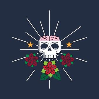 Disegno dell'etichetta di cranio e rose retrò
