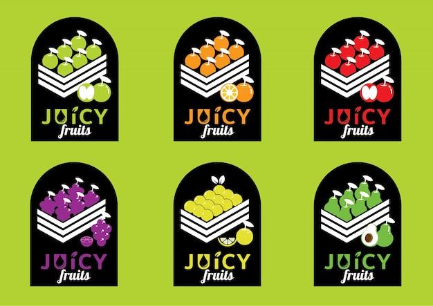 Disegno dell'etichetta di frutti succosi