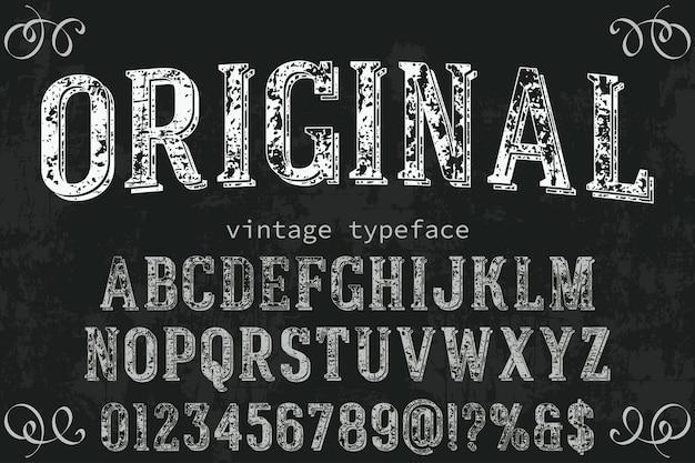 Disegno dell'etichetta lettering vintage originale