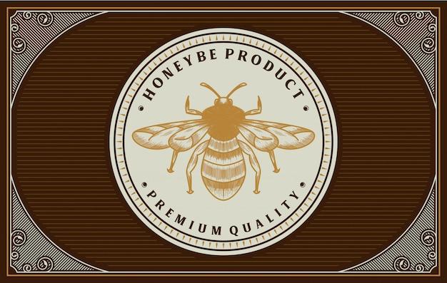 Disegno dell'etichetta miele con elemento ape
