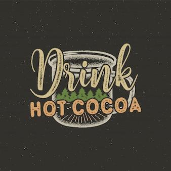 Disegno dell'etichetta tipografia di natale disegnato a mano dell'annata testo di cacao caldo rosa