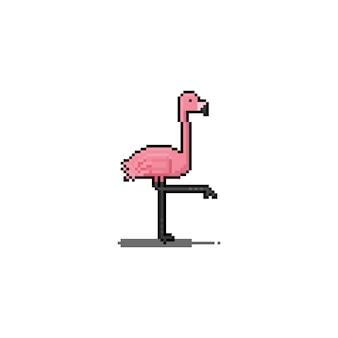Disegno dell'icona del fenicottero del fumetto di arte del pixel.