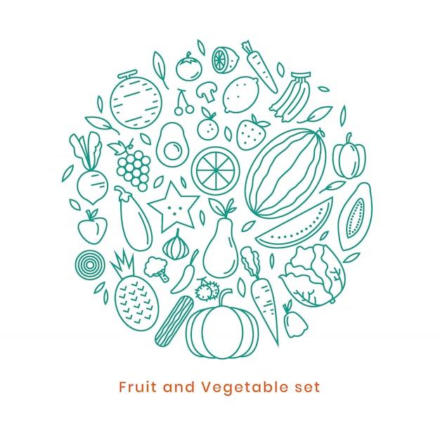 Disegno dell'icona della frutta sul vettore