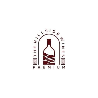 Disegno dell'icona di logo di vini hipster