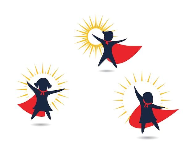 Disegno dell'icona di super concetto di bambini
