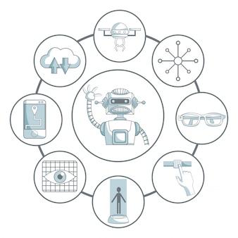 Disegno dell'icona di tecnologia sopra priorità bassa bianca