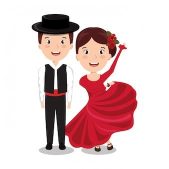 Disegno dell'icona isolato ballerini di flamenco