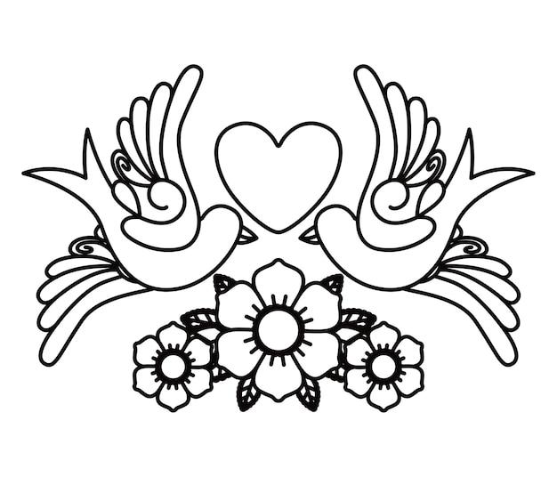 Disegno dell'icona isolato tatuaggio cuore e uccelli