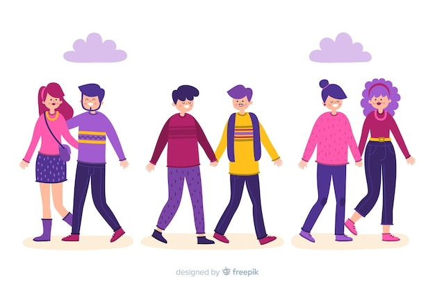 Disegno dell'illustrazione con le giovani coppie