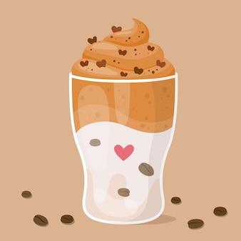 Disegno dell'illustrazione del caffè di dalgona