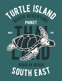 Disegno dell'illustrazione dell'isola della tartaruga