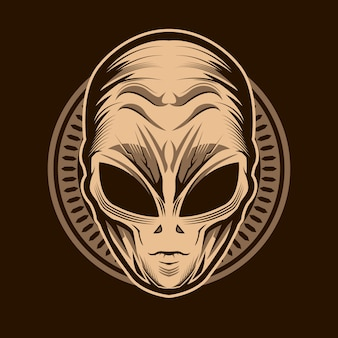 Disegno dell'illustrazione della testa aliena