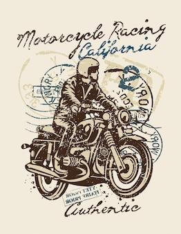 Disegno dell'illustrazione di motociclismo