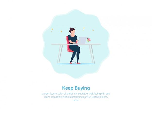 Disegno dell'illustrazione di shoping della femmina