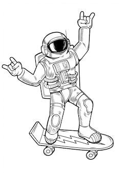 Disegno dell'incisione con divertente simpatico tizio astronauta astronauta cavalca su skateboard in tuta spaziale. stile d'annata di pop art dei fumetti dell'illustrazione del personaggio dei cartoni animati isolato