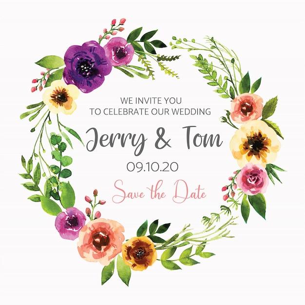 Disegno dell'invito dell'acquerello con foglie e fiori, carta, cornice, bordo. poster, saluto illustrazione ad acquerello