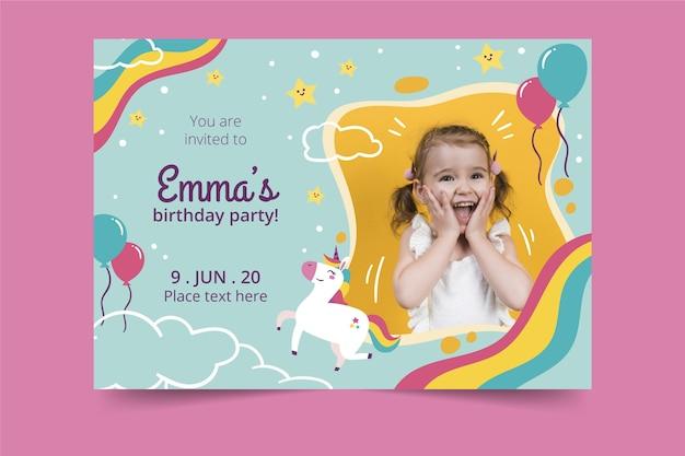 Disegno dell'invito di compleanno per bambini