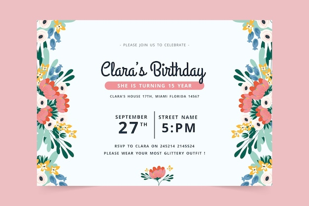 Disegno dell'invito di compleanno