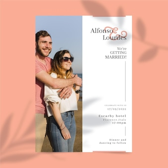Disegno dell'invito di nozze con foto