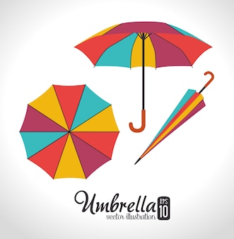 Disegno dell'ombrello, illustrazione vettoriale.