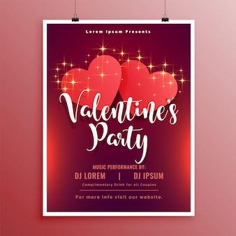 Disegno dell'opuscolo dell'aletta di filatoio del partito di san valentino felice bella