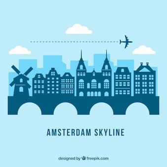 Disegno dell'orizzonte di amsterdam blu