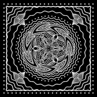 Disegno della bandana orientale in bianco e nero