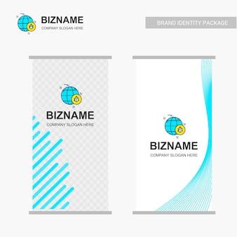 Disegno della bandiera degli annunci dell'azienda con il vettore di logo della società
