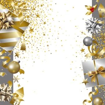 Disegno della bandiera di buon natale e felice anno nuovo del contenitore di regalo di lusso con ba di caduta del nastro