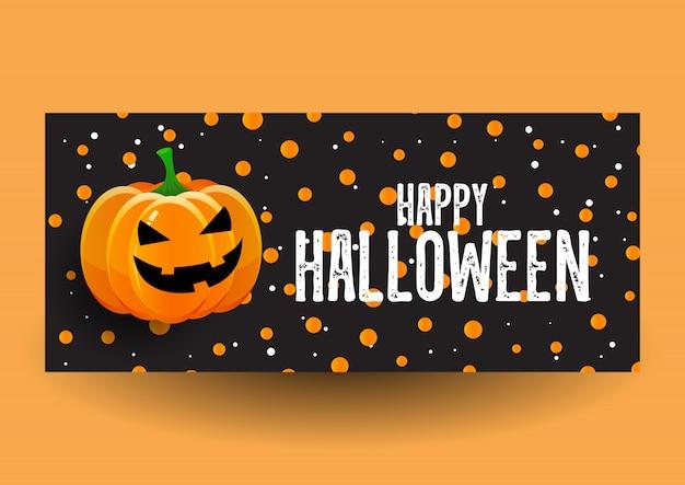 Disegno della bandiera di halloween con la zucca