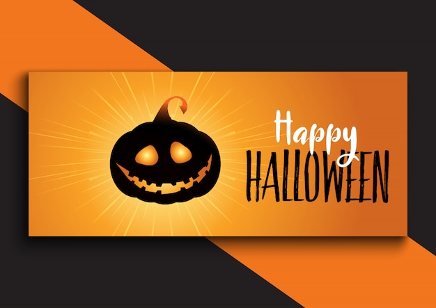 Disegno della bandiera di halloween con zucca carina