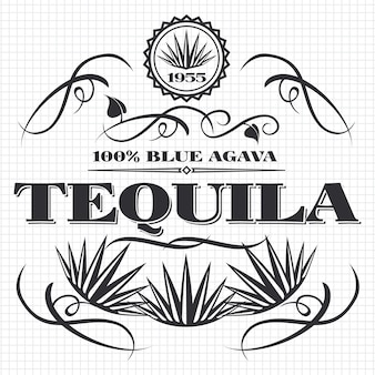 Disegno della bandiera di tequila della bevanda dell'alcool sulla pagina del taccuino