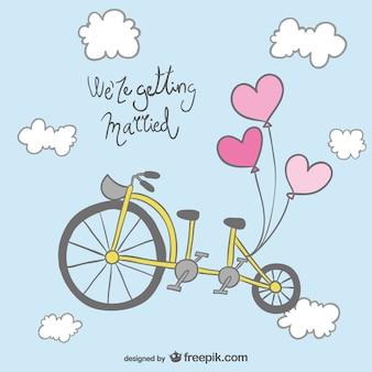 Disegno della bicicletta invito a nozze