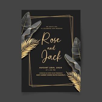 Disegno della carta di invito matrimonio nero e dorato reale.