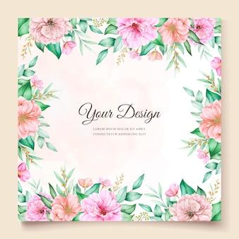 Disegno della carta invito floreale dell'acquerello