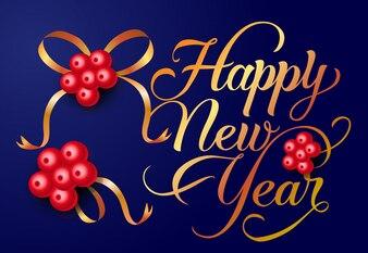 Disegno della cartolina di felice anno nuovo. Bacche di Natale