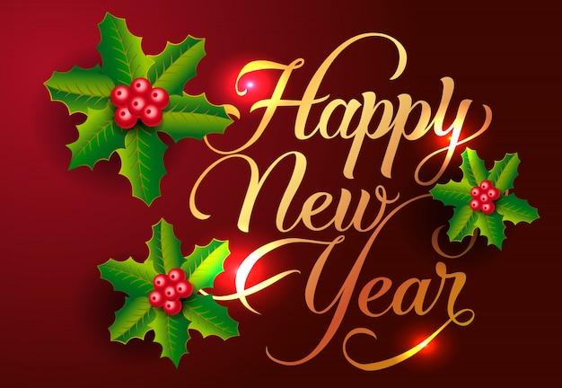 Disegno della cartolina di felice anno nuovo. bacche di vischio