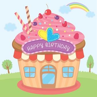 Disegno della casa del cupcake per il biglietto di auguri per il compleanno