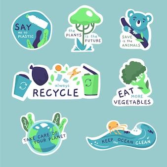 Disegno della collezione di badge ecologia
