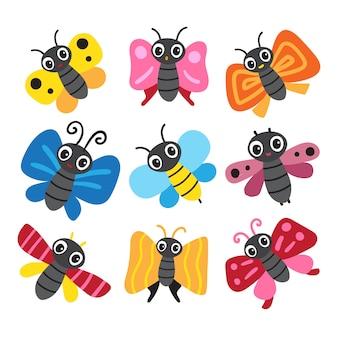 Disegno della collezione di personaggi farfalla