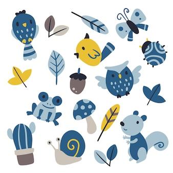 Disegno della collezione vettoriale di fauna selvatica