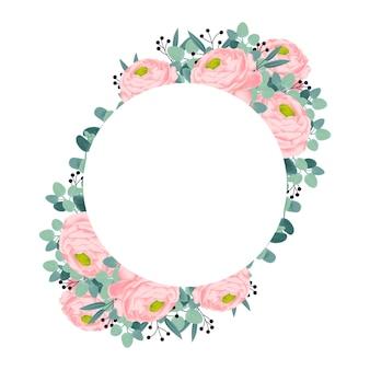 Disegno della cornice floreale con fiori di ranuncolo rosa.