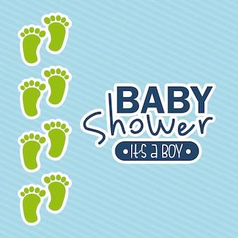 Disegno della doccia di bambino sopra l'illustrazione blu di vettore del fondo