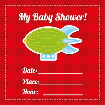 Disegno della doccia di bambino sopra l'illustrazione rossa di vettore del fondo