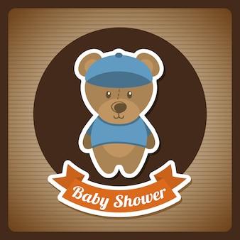 Disegno della doccia di bambino su sfondo marrone