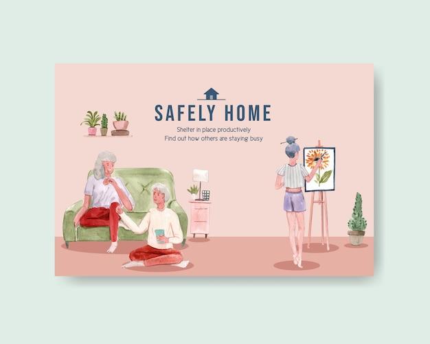 Disegno della donna di concetto di soggiorno di progettazione del modello di facebook a casa con l'illustrazione dell'acquerello della stanza interna e della famiglia